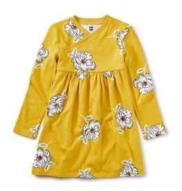 Tea Collection Wrap Neck Dress - Blooming Flora Blanca
