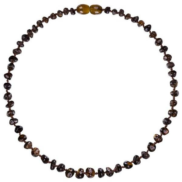 Powell's Owls 12.5'' Baroque Green Amber Necklace