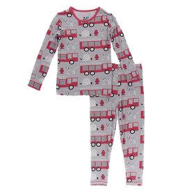 Kickee Pants Print Long Sleeve Pajama Set Feather Firefighter