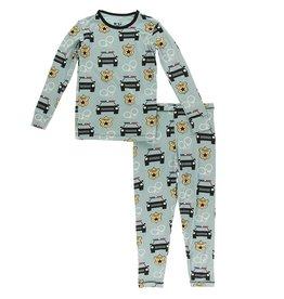 Kickee Pants Print Long Sleeve Pajama Set Jade Law Enforcement