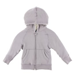 Kickee Pants Solid Fleece Zip-front Hoodie with Sherpa-lined Hood Feather