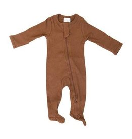 Mebie Baby Organic Cotton Footed Zipper One-Piece - Rust