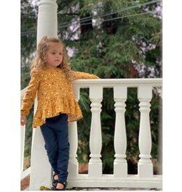 Vignette Mustard Navy Floral Top and Legging Set