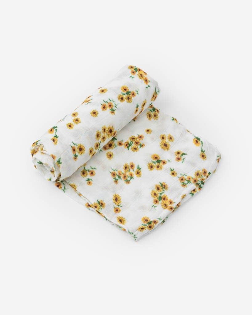 Little Unicorn Deluxe Cotton Swaddle - Ditsy Sunflower