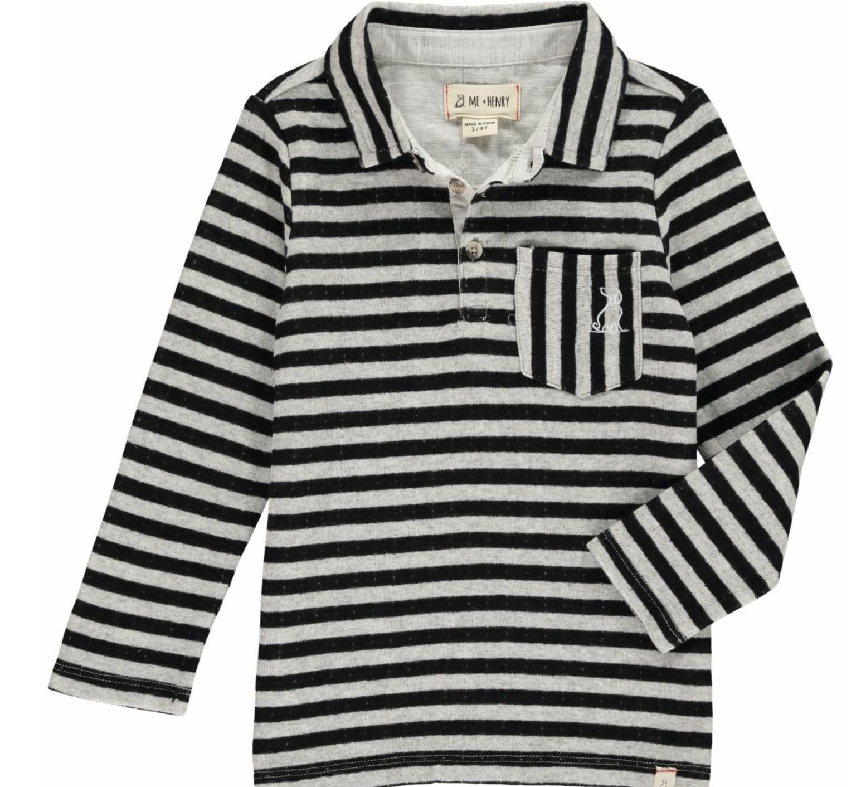Me + Henry Grey/Black Striped Polo, Boys