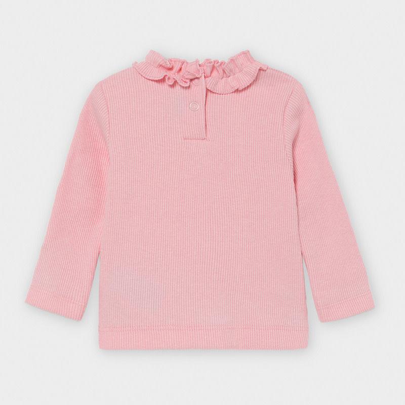 Mayoral Baby Girl Ruffled Ribbed Sweater, Rose