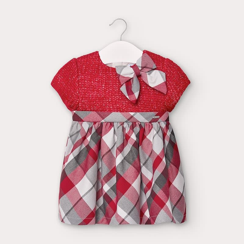 Mayoral Baby Girl Red Sweater with Plaid Dress