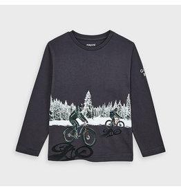Mayoral Long Sleeved Boys Tee, Graphite Biker