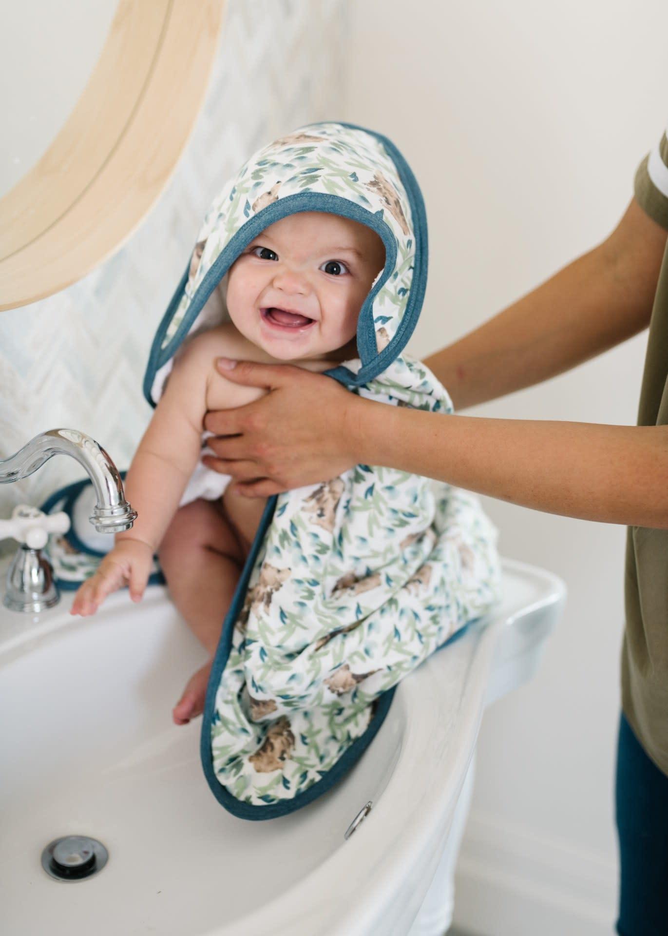 Copper Pearl Knit Hooded Towel - Bear