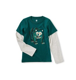 Tea Collection Big Bear Layered Graphic Tee - Jade