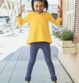 RuffleButts Long Sleeve Bow-Back Top, Golden Yellow