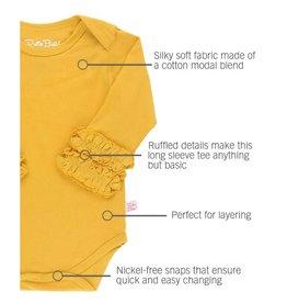 RuffleButts Ruffled Long Sleeve Bodysuit, Golden Yellow