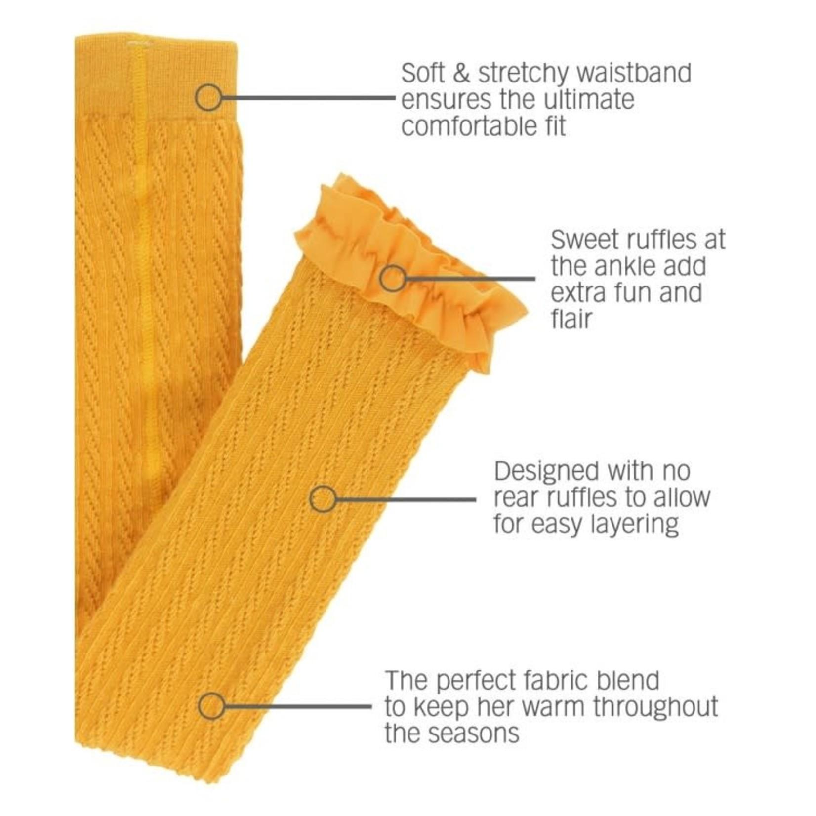 RuffleButts Cable Knit Footless Ruffle Tights, Golden Yellow