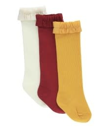RuffleButts 3-Pack White, Cranberry, Golden Yellow Knee High Socks