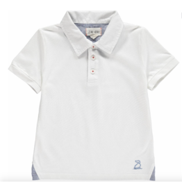 Me + Henry Pique Polo Shirt, White 5-6Y