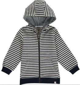 Me + Henry Navy/Cream Stripe Hooded Top 5-6Y