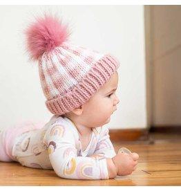 Huggalugs Rosy Pink Buffalo Check Pom Pom Beanie Hat