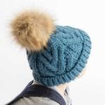 Huggalugs Slate Pop Pom Pom Beanie Hat