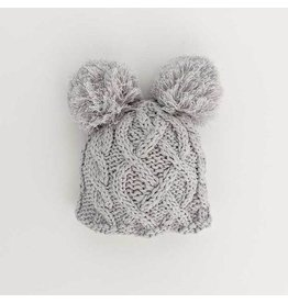 Huggalugs Newborn Aran Grey Double Pom Beanie Hat