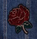 Mayoral Dark Denim Jean Jacket Girls - Burgundy Embroider