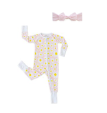Little Sleepies Convertible RomperSleeper Daisies 3-6M with Pink Knot Set