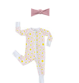 Little Sleepies Convertible Romper/Sleeper Daisies 6-12M with Mauve Waffle Bun Set