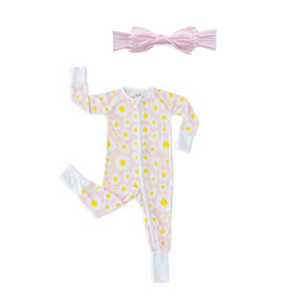 Little Sleepies Convertible Romper/Sleeper Daisies 18-24M with Trimmed Classic Knot - Pink Pom Set