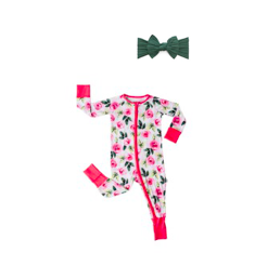 Little Sleepies Convertible Romper/Sleeper Roses + Cable Knot Forest Green Set