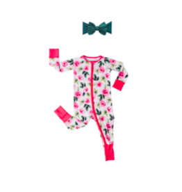Little Sleepies Convertible Romper/Sleeper Roses NB + Knot Forest Green Set