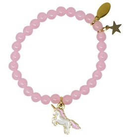 Zomi Gems Flying Unicorn Pink Bead Bracelet
