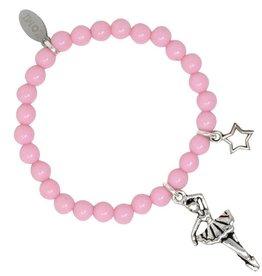 Zomi Gems Silver Ballerina Baby Pink Bead Bracelet