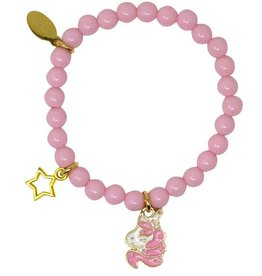 Zomi Gems Sleeping Unicorn Pink Bead Bracelet