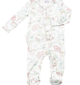 Angel Dear Ruffle Zipper Footie, Pink Elephants