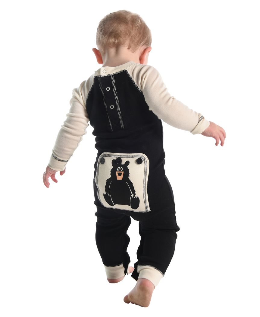 Lazy One Baby Bear Essentials Infant Flapjack - Black/Cream