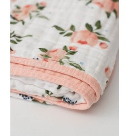 Little Unicorn Cotton Muslin Baby Quilt - Watercolor Rose