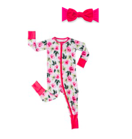 Little Sleepies Convertable/Romer Sleeper Roses + Velvet Knot Rouge Set 18-24M