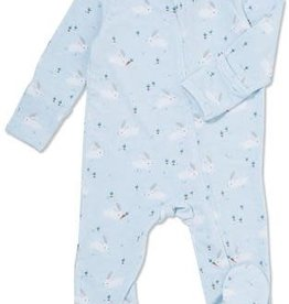 Angel Dear Zipper Footie, Baby Bunnies Blue