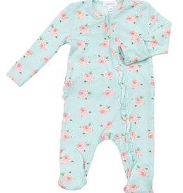 Angel Dear Ruffle Zipper Footie, Petite Rose