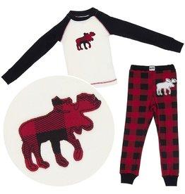 Lazy One Kids 2pc PJ Set - Moose Plaid
