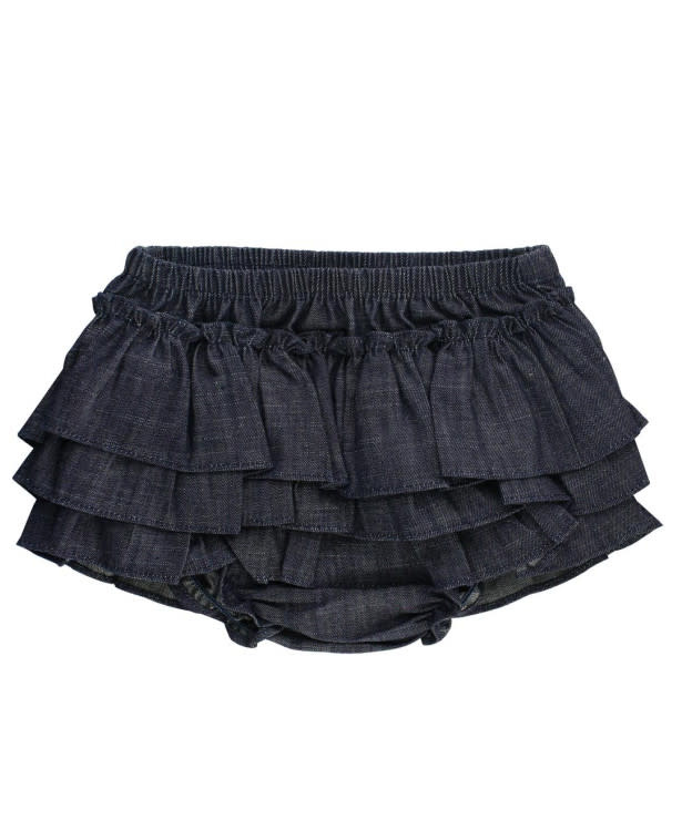 RuffleButts Dark Wash Denim Skirted Bloomer