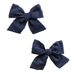 Baby Bling Bows 2PK Big Cotton Clips - Clipped Dot Navy