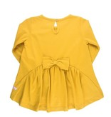 RuffleButts Long Sleeve Bow-Back Top, Golden Yellow