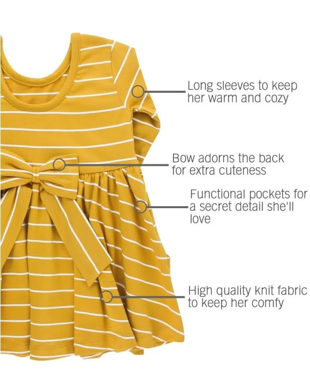 RuffleButts Twirl Dress, Golden Yellow & Ivory Stripe