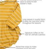 RuffleButts Flutter Bubble Romper, Golden Yellow Stripe