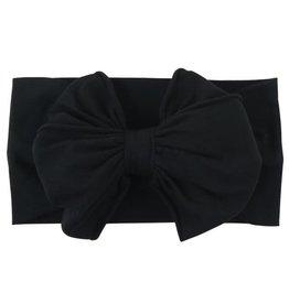 RuffleButts Black Big Bow Headband