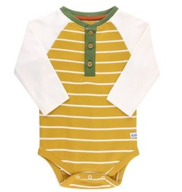 Golden Yellow Stripe Raglan Henley Bodysuit