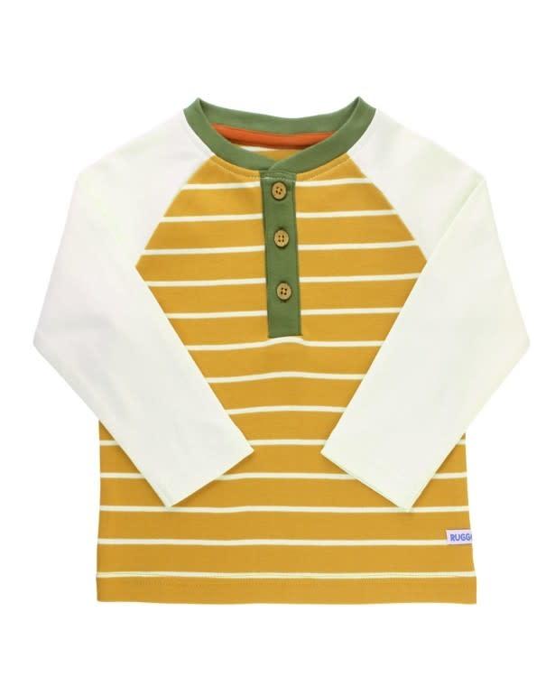 Golden Yellow Stripe Raglan Henley Tee