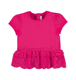 Mayoral Short Sleeved Perforated Baby Girl - Strawberry Eyelet Ruffle 6 Months