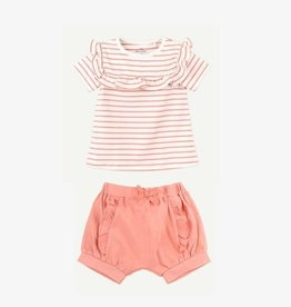 Oliver and Rain Coral Pink Stripe Ruffle Tee + Short Set 6M