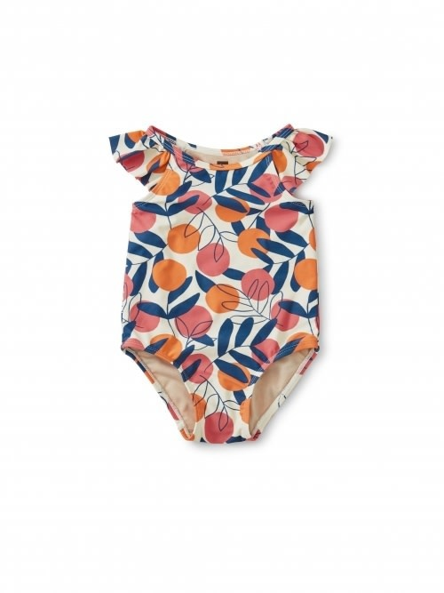 Tea Collection Flutter Baby One-Piece Swimsuit - Spring Citrus 12-18M